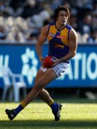 MELBOURNE, AUSTRALIA - JULY 17: Tom Barrass of the Eagles in action during the 2016 AFL Round 17 match between the Carlton Blues and the West Coast Eagles at the Melbourne Cricket Ground on July 17, 2016 in Melbourne, Australia. (Photo by Michael Willson/AFL Media)